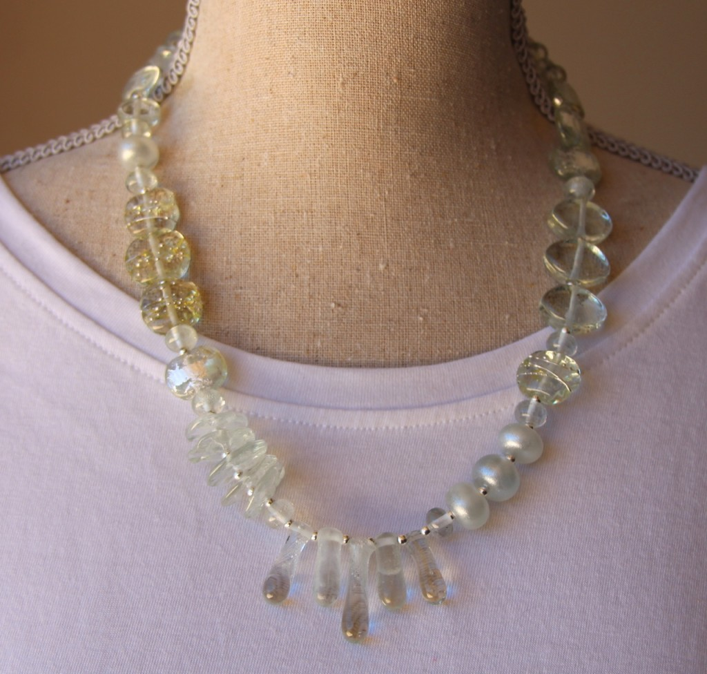Asymmetrical Necklace.  Handmade glass beads, made from a Banrock Station wine bottle.