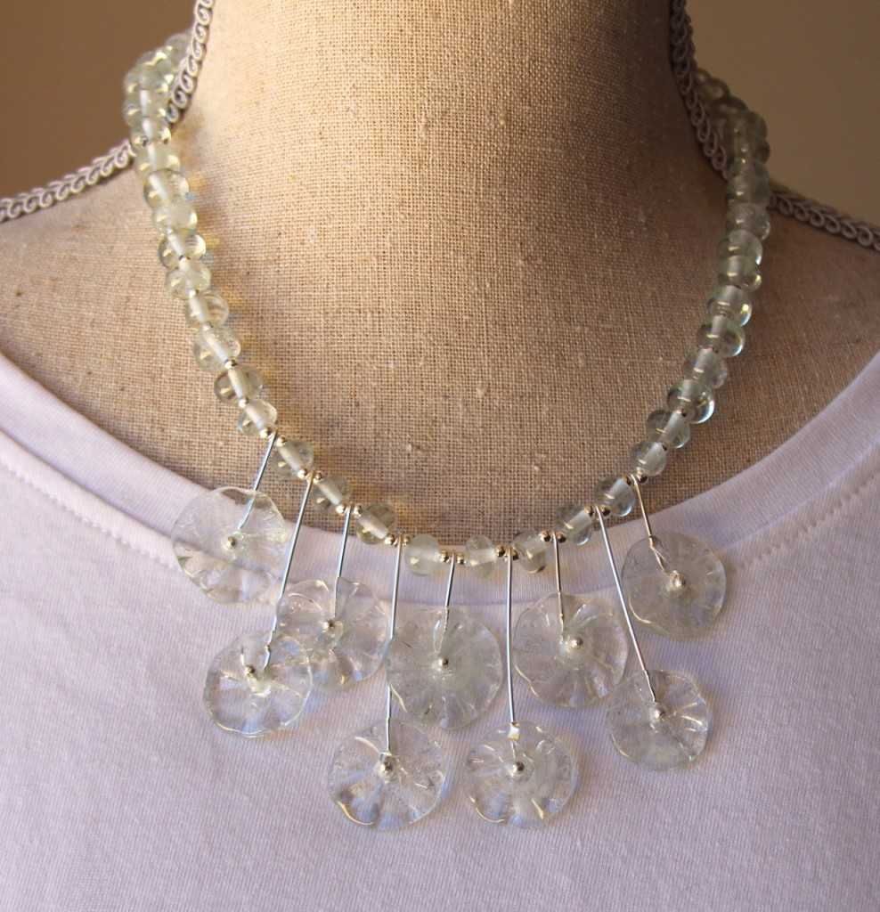 Flower necklace - beads made from a Banrock Station wine bottle
