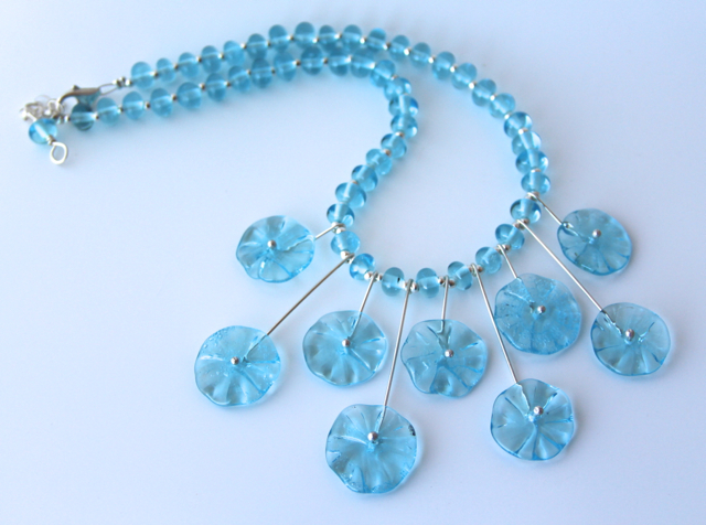 Bombay Sapphire Flower Bead Necklace - handmade recycled glass beads