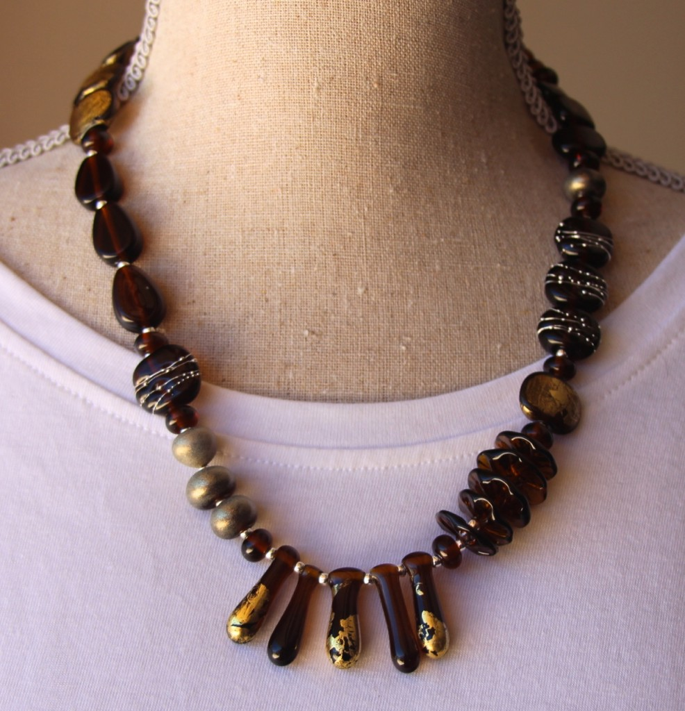 Asymmetrical Necklace - beads made from a Coopers Ale bottle