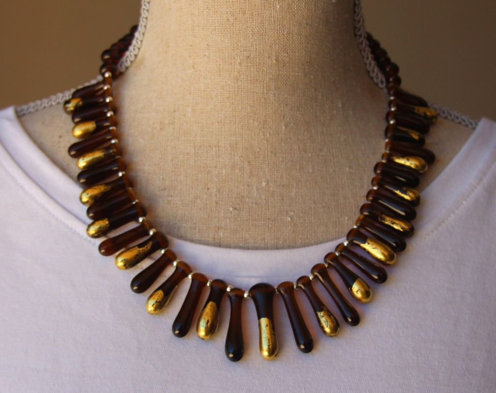 Recycled glass bead necklace - Coopers Sparkling Ale bottle was used to make these beads