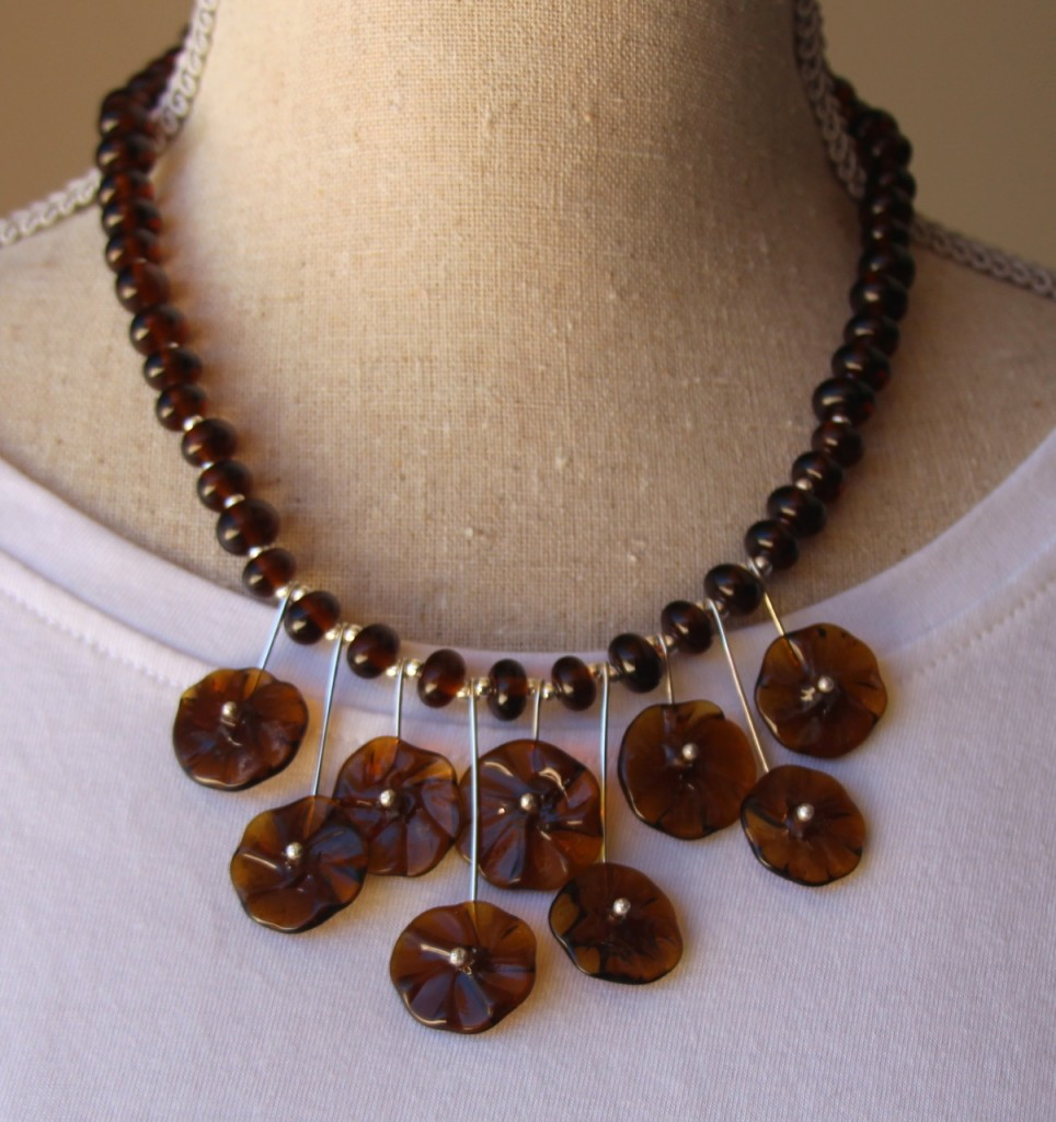 Flower Necklace - beads made from a Coopers Ale bottle (by Julie Frahm)