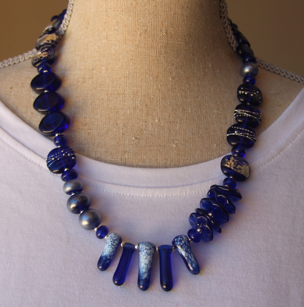 Asymmetrical Necklace - beads made from a Kronenbourg beer bottle