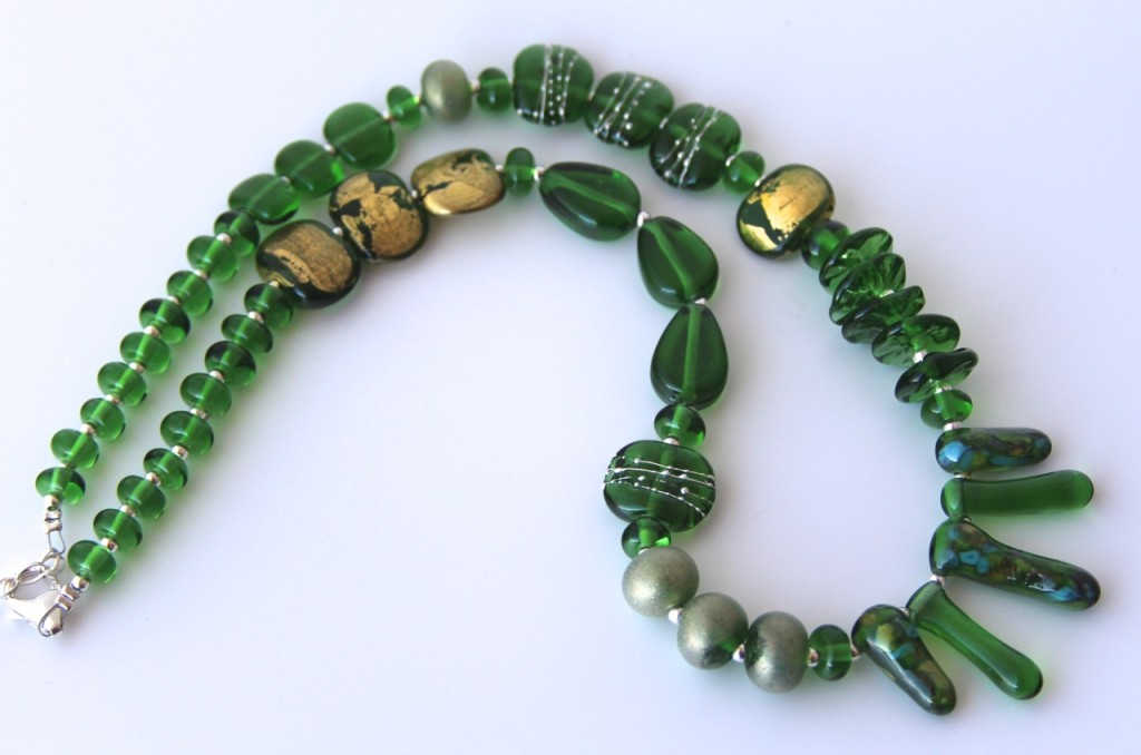Asymmetrical necklace - handmade glass beads, made from a Peroni Beer Bottle
