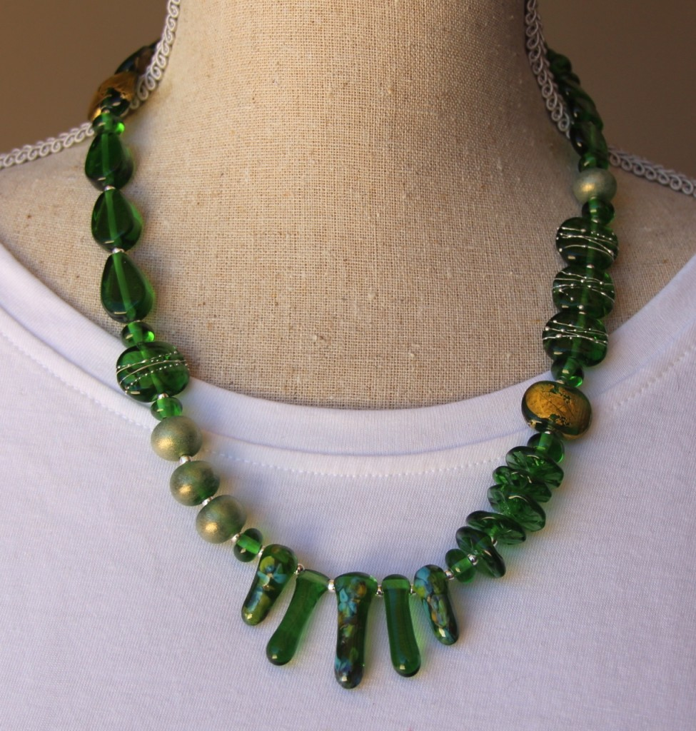 Asymmetrical necklace - beads made from a Peroni Beer bottle