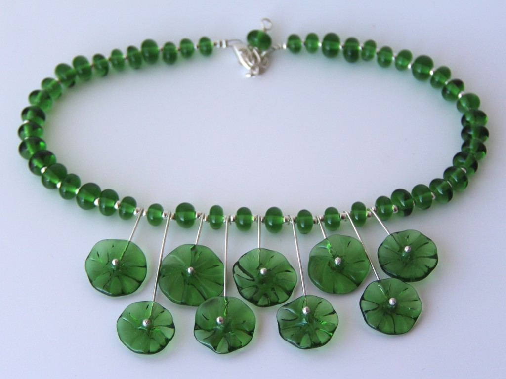 Handmade Recycled glass beads - beads made from a Peroni Beer Bottle