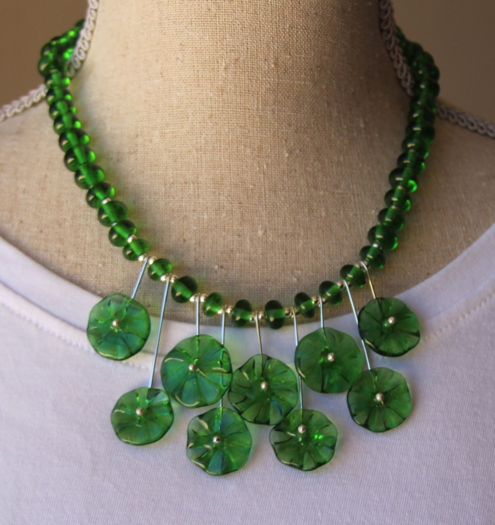 The beads in this necklace were made from a Peroni Beer Bottle - handmade recycled glass beads