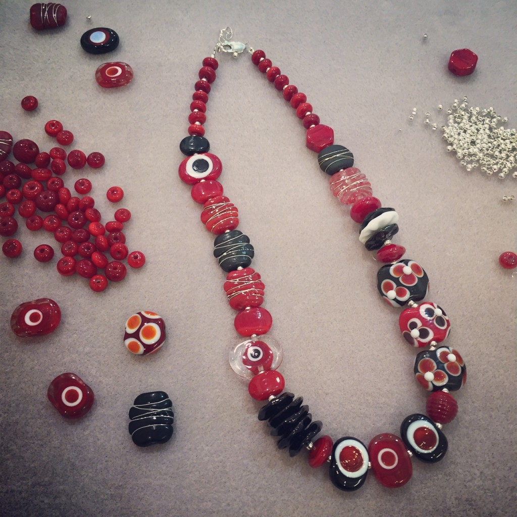 Custom Red/Black/White necklace for a customer