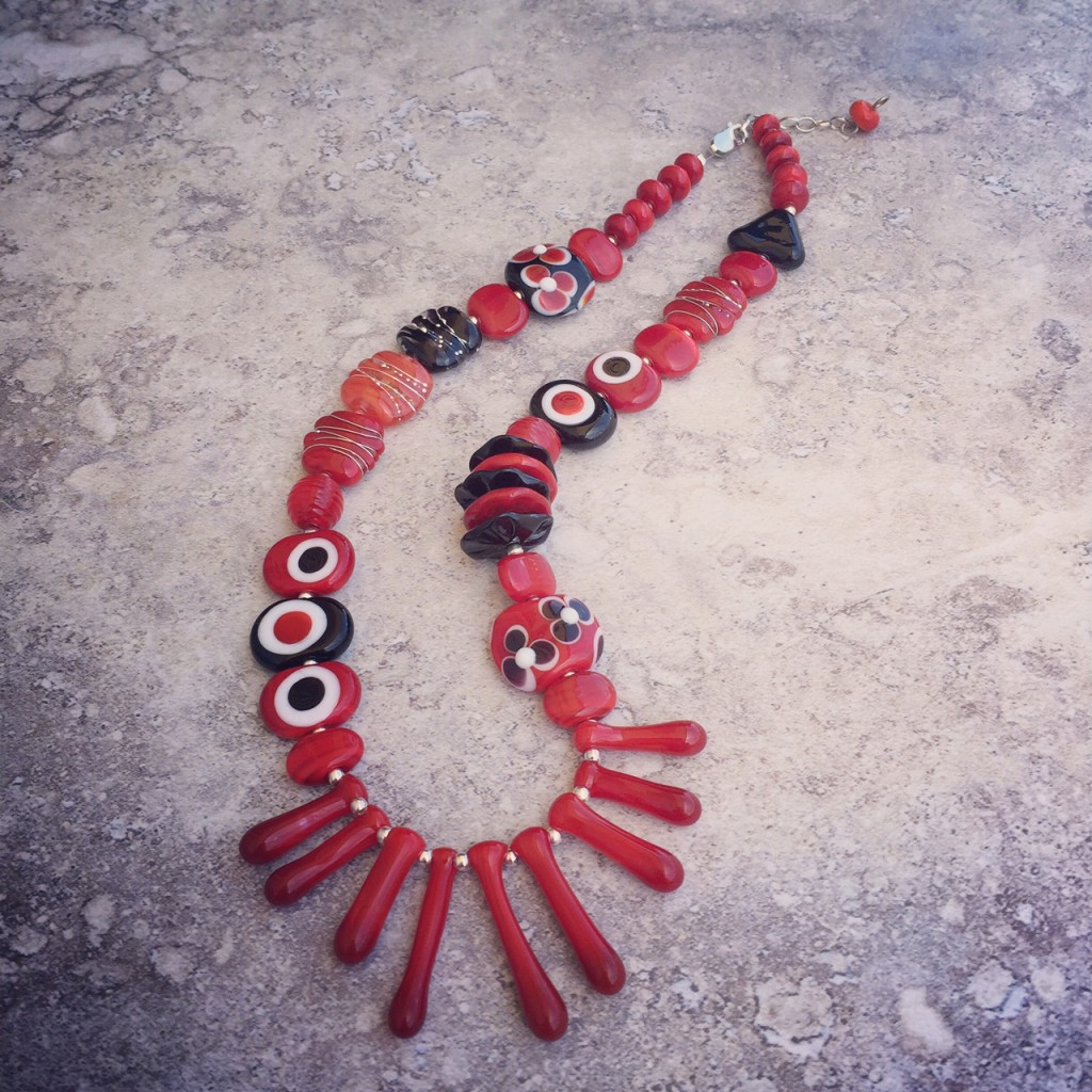 Classic red/black/white necklace, with handmade glass beads by Julie Frahm