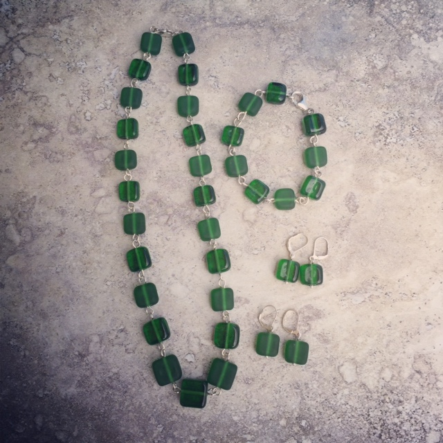 Handmade glass beads, made from a Peroni bottle