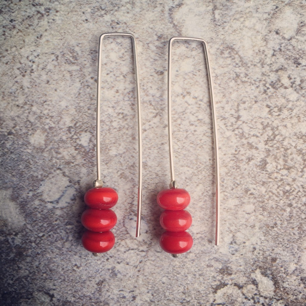 Long Red Earrings, just a splash of colour to make your day!