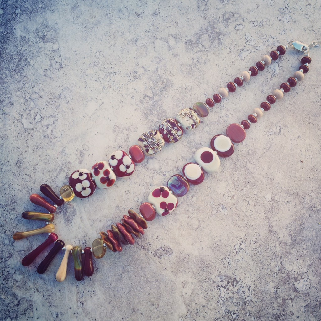 Love this assorted brown handmade glass bead necklace by Julie Frahm