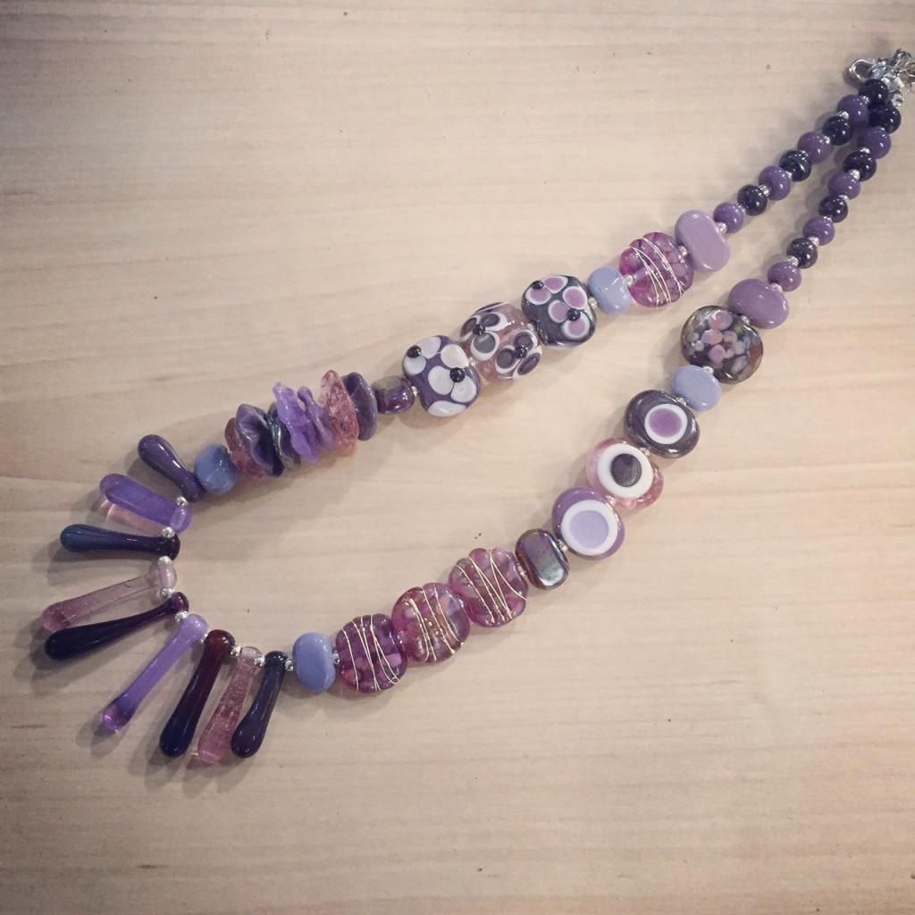 Beautiful purple necklace with handmade glass beads by Julie Frahm