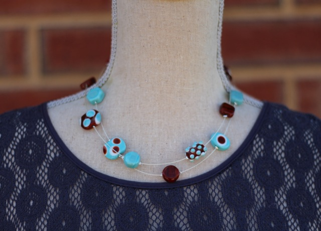 Long Turquoise and Brown necklace worn doubled over.  Funky, retro colour combination