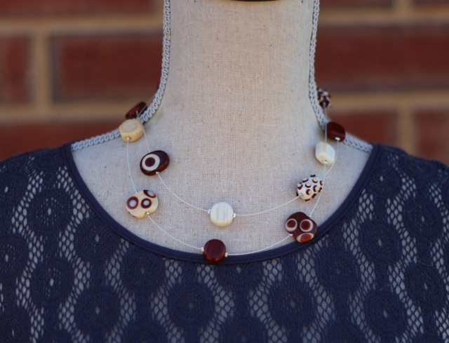 Long Brown Necklace, worn double over
