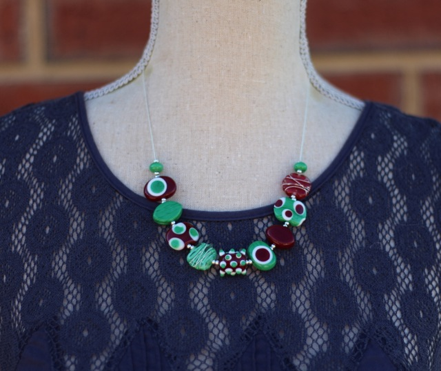 Short brown and green handmade glass bead necklace by Julie Frahm