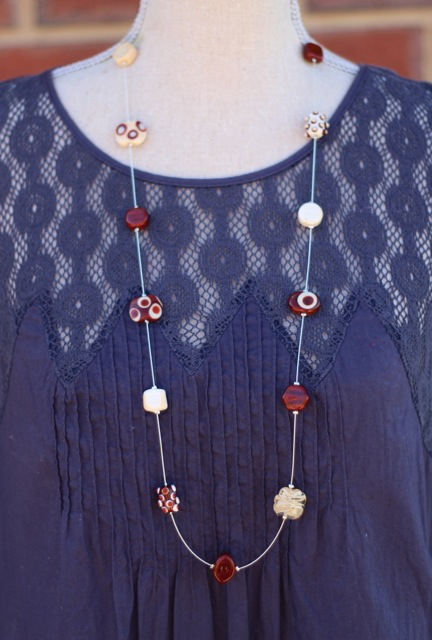 Long Brown Necklace with handmade glass beads by Julie Frahm