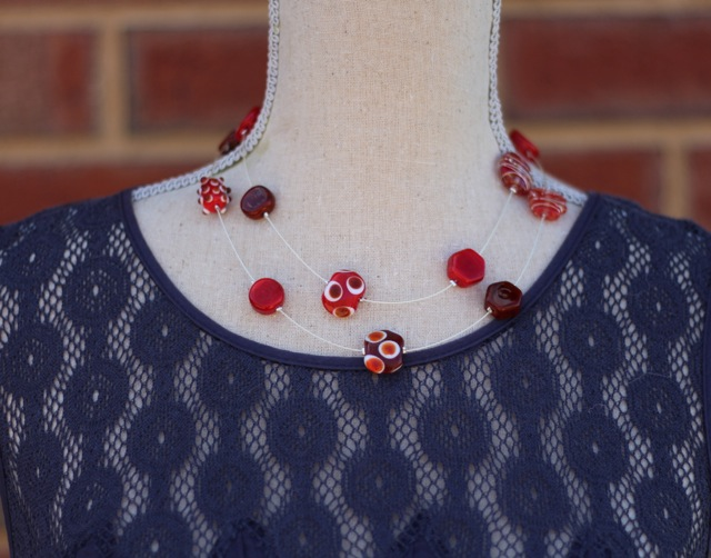 Brown and Red Long Necklace, worn doubled over