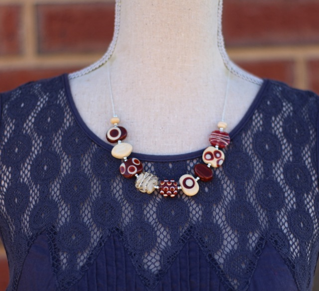 Short Brown Handmade Glass Bead Necklace by Julie Frahm