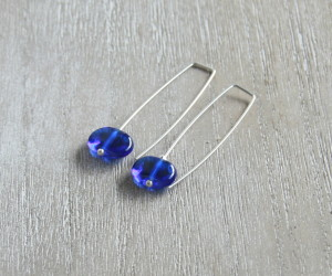 Skyy Vodka recycled handmade glass bead earrings
