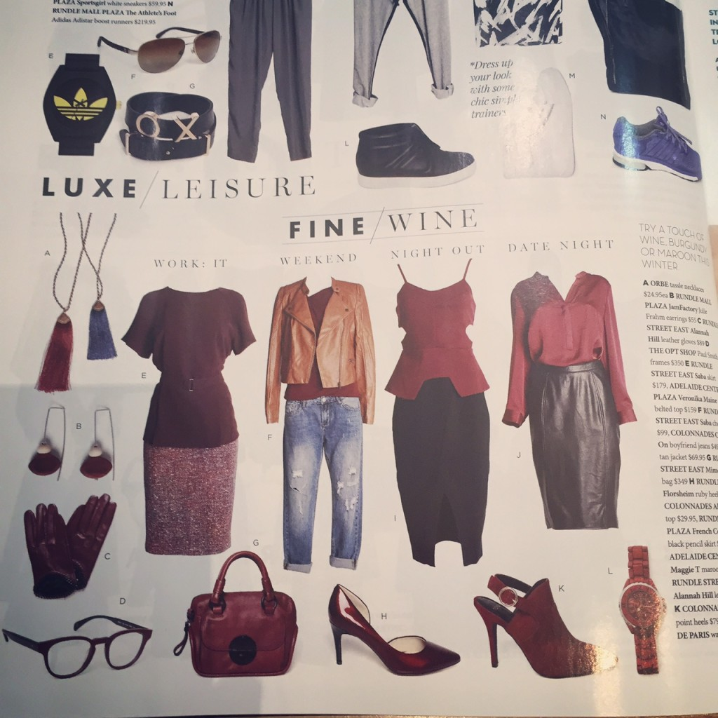 Earrings by Julie Frahm featured in the South Australian Style magazine