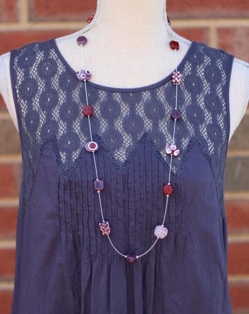 Brown and Purple Long Handmade Glass Bead neckalce