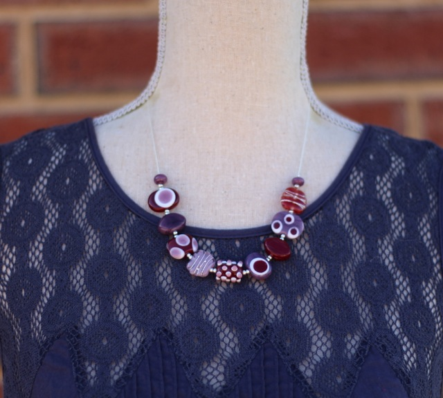 Brown and Purple Handmade Glass Bead Necklace by Julie Frahm