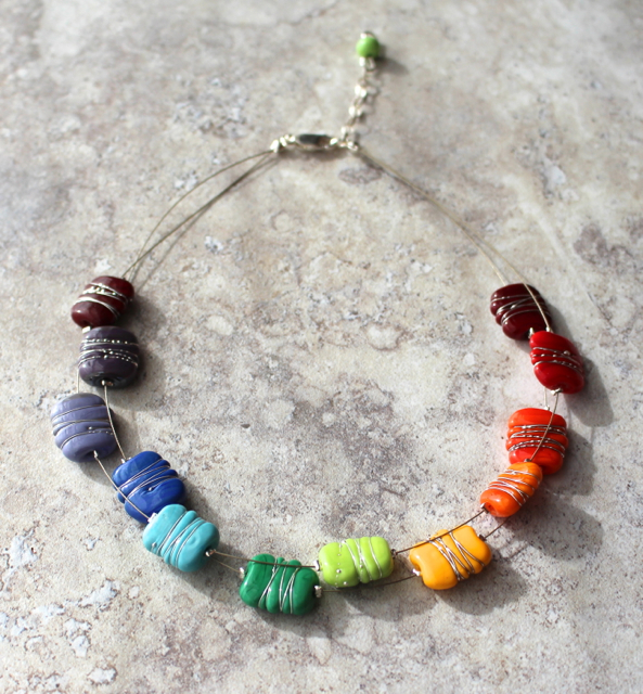 Colour wheel necklace with fine silver wire details by Julie Frahm