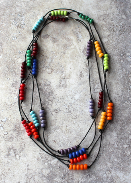Colour Wheel Necklace on leather