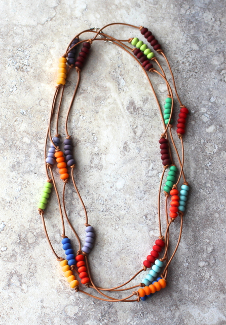 Colour wheel necklace on leather with etched beads