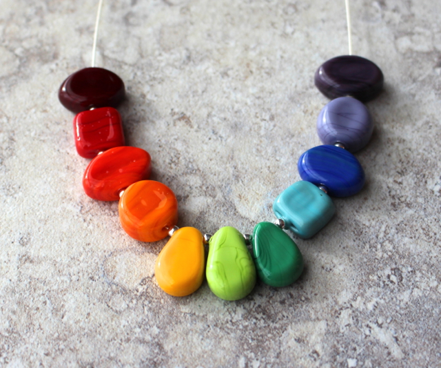 Love this colour wheel necklace by Julie Frahm with handmade glass beads