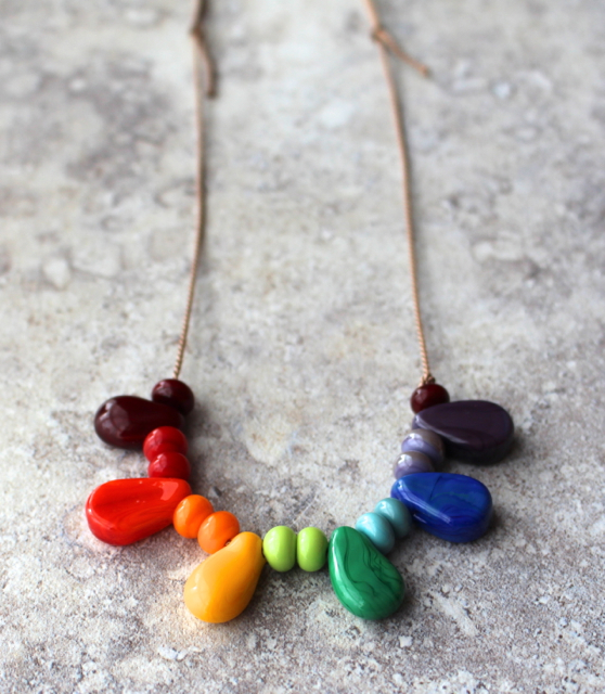 Beautiful colour wheel necklace, on silk cord