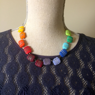 Etched colour wheel necklace with fine silver wire details looks great on!