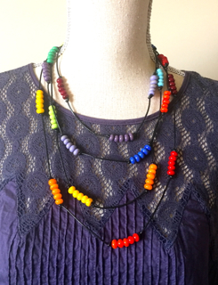 Colour Wheel necklace on leather (modelled)