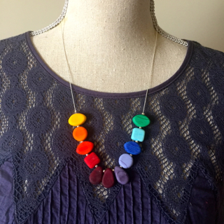 Colour wheel necklace by Julie Frahm, looks fantastic on too.