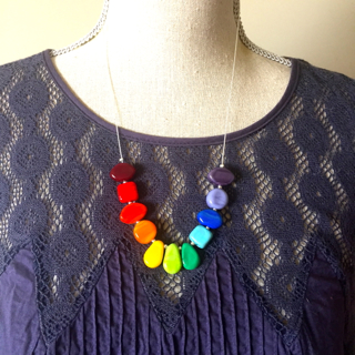 This colour wheel necklace looks beautiful on!