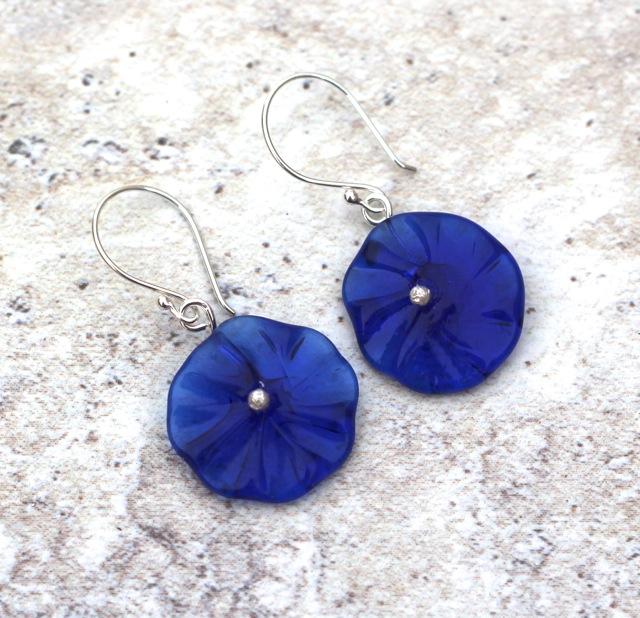Kronenberg Flower Earrings - Recycled Glass Beads by Julie Frahm