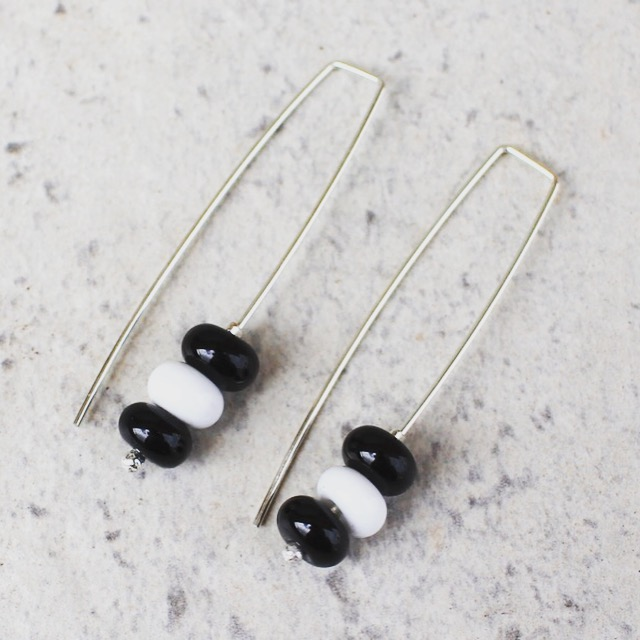 Long black and white earrings, glass beads made by Julie Frahm