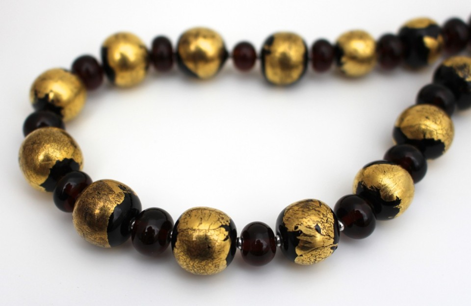 Handmade Recycled glass bead necklace, beads made from a Coopers Ale bottle, and decorated with 14K gold leaf