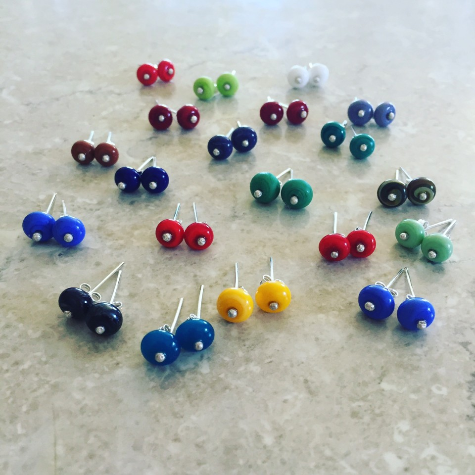 Glass stud earrings by Julie Frahm.