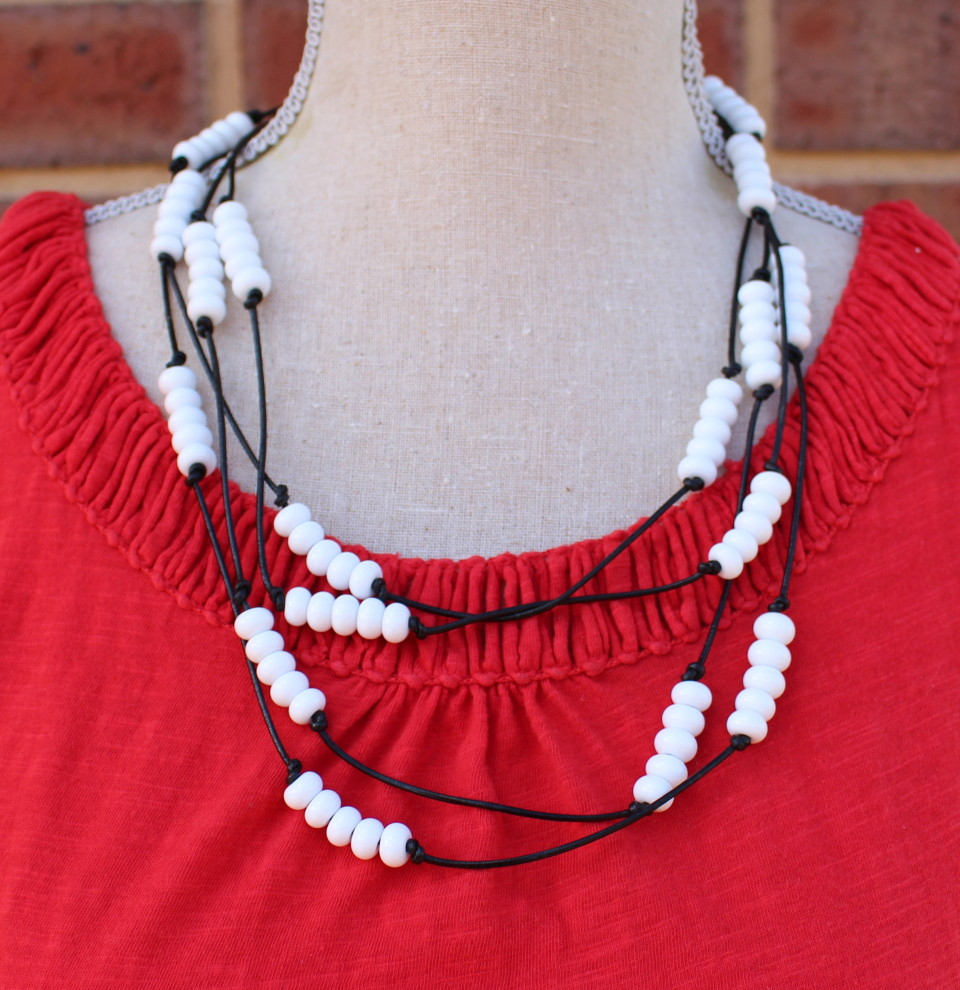 White bead necklace on black leather, handmade glass beads by Julie Frahm