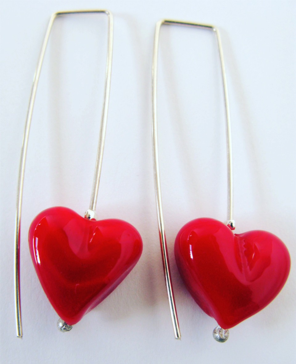 Long Red Glass Heart earrings by Julie Frahm