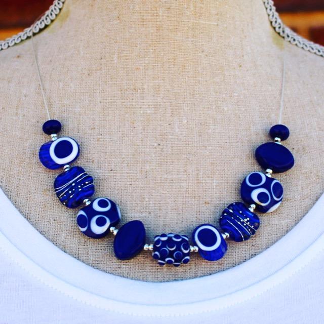 Stunning Cobalt blue necklace, handmade glass beads by Julie Frahm