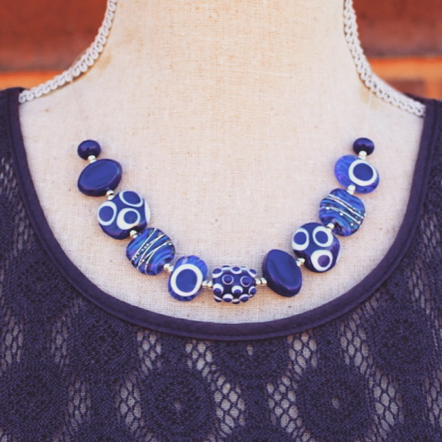 Stunning cobalt blue necklace, looks beautiful with a darker coloured dress