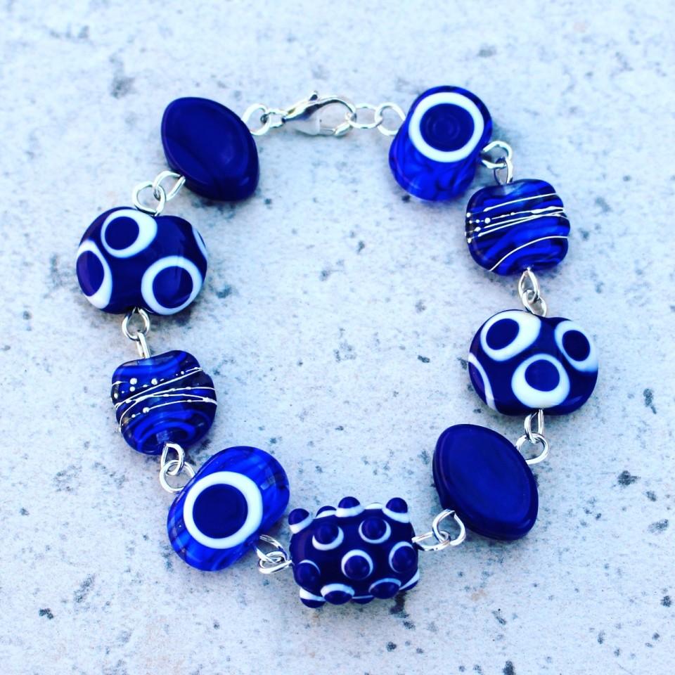 Beautiful cobalt blue bracelet, handmade glass beads by Julie Frahm