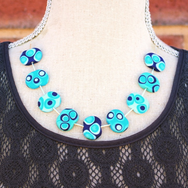 Dotty blue necklace, beautiful shades of blue.  Glass beads by Julie Frahm