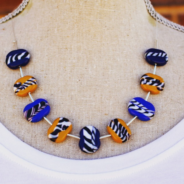 Contrasting blue and yellow necklace, handmade glass beads by Julie Frahm