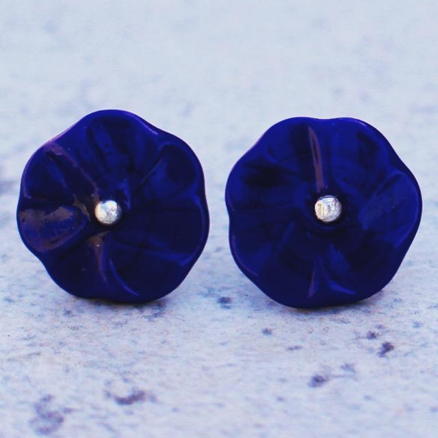 Cobalt earrings, handmade glass beads by Julie Frahm