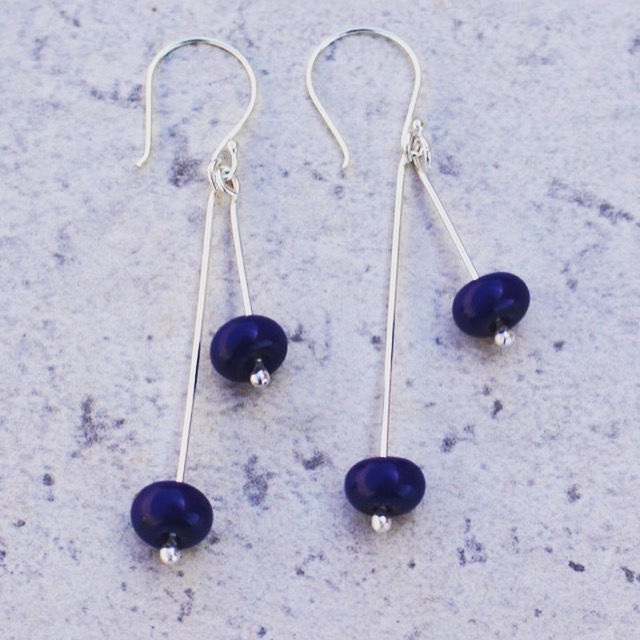 Cobalt drop earrings, handmade glass beads by Julie Frahm