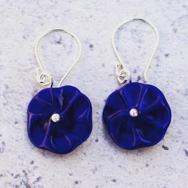 Blue flower drop earrings, handmade glass beads by Julie Frahm
